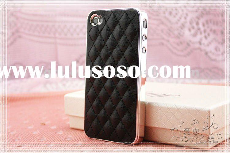 Deluxe Leather Chrome Hard Case Cover for iPhone 4S 4G AT&T CDMA