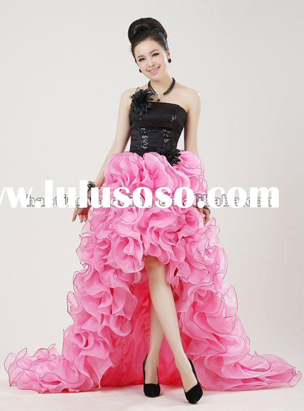 EDB1201 Black and Pink Front Short and Long Back Wedding Dress
