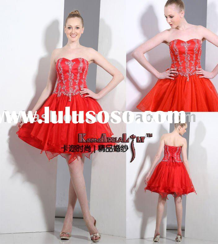 EM9001-red Classic short dress prom dress,bridiesmaid dress factory
