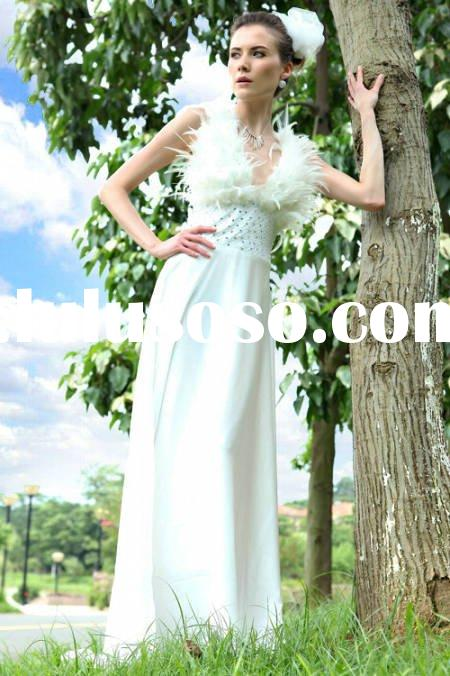 Fashion dress designer dress strap backless V-neck A-line feathers hot sell new arrival D30157