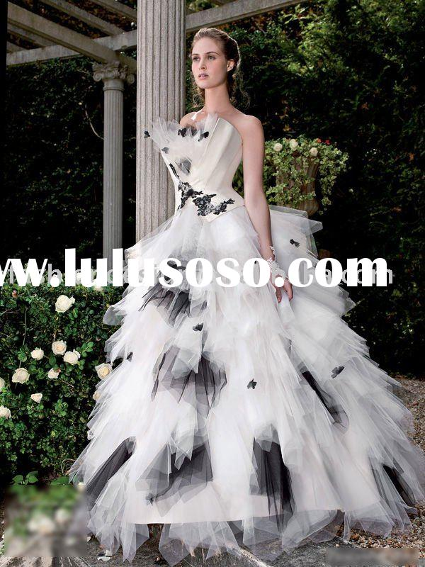 HLX00262 2011 Fantastic strapless ruffle black-white organza ball gown wedding dress