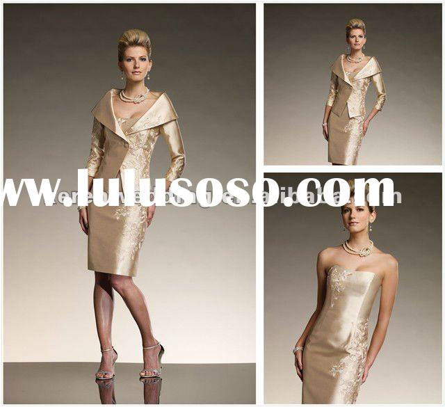 Knee Length Taffeta Applique Mother Of The Bride Suits