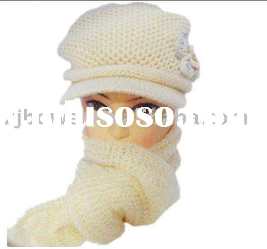 Knitted Wool Scarf /Hat Set Embroidery LOGO