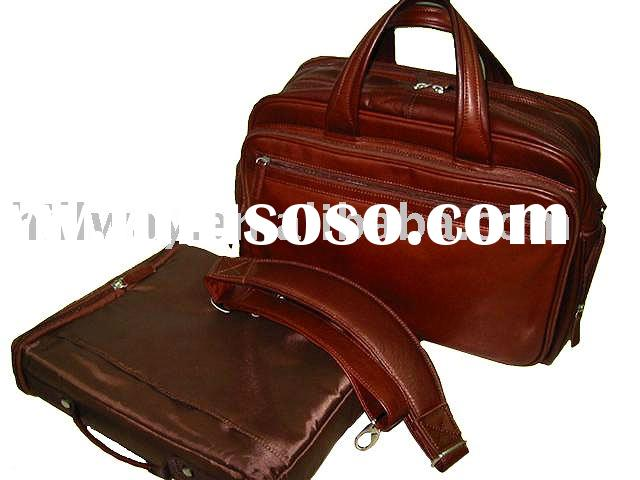 NEW GENUINE COWHIDE LEATHER BUSINESS CPU BRIEFCASE