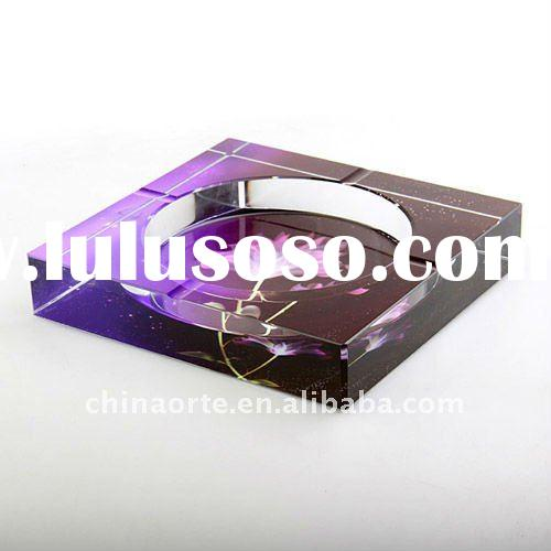 Personalized Square Shape Crystal Ashtray Set With Painting Flower For Decoaraton,YHG0009-YBD