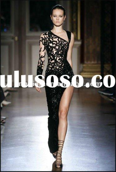 SC1540 Luxury latest dress designs black lace one shoulder long sleeve evening dress fashion 2012 by