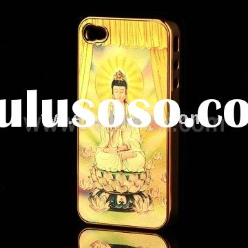 Sacred Buddha Pattern For iPhone 4 Electroplating Case(Free Screen Protector)