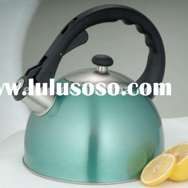 Satin Splendor 2.8 Qt. Stainless Steel Whistling Tea Kettle-Metallic Aqua