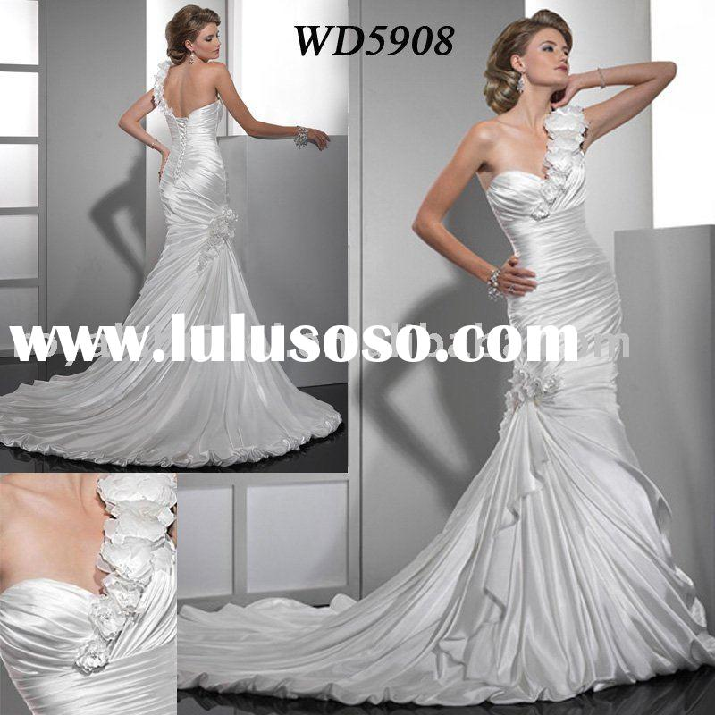 WD5908 2011 New Arrival Grace One Shoulder Satin Mermaid Bridal Gown