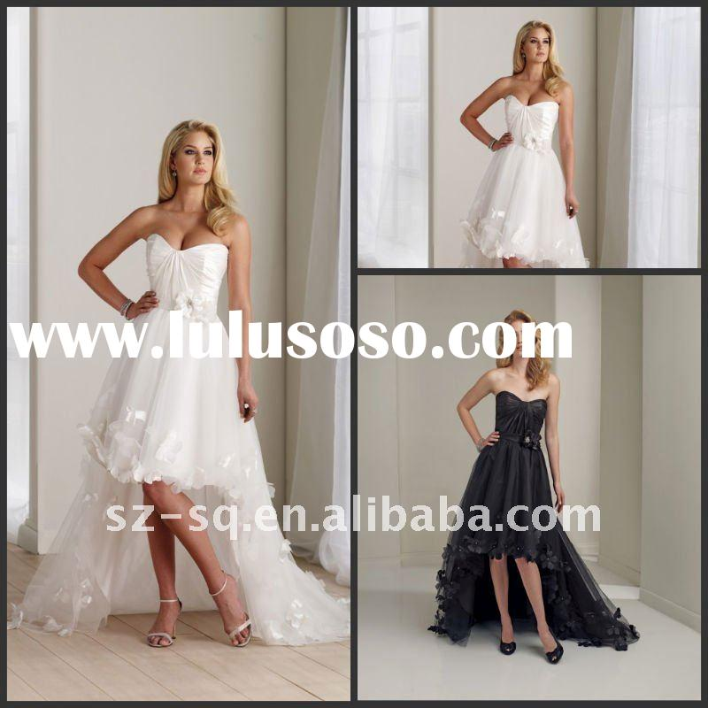 Y0607 Beautiful Sweetheart Short Front Long Back Beach Wedding Dress