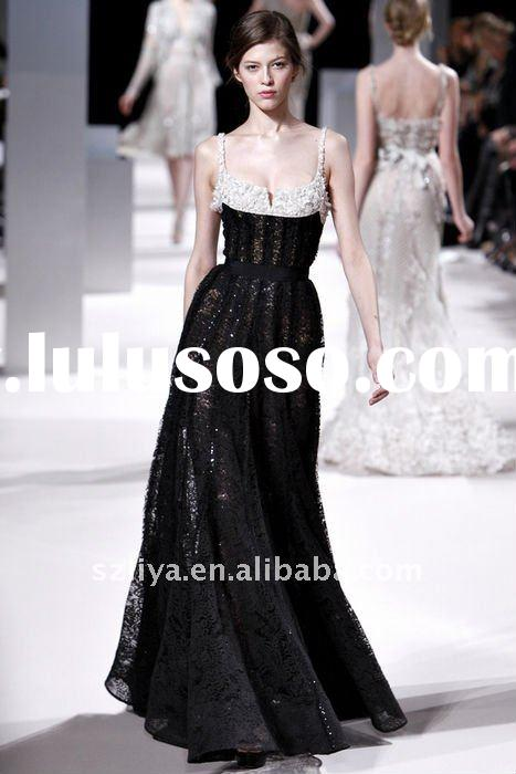 customer made elie saab two straps black and white lace crystal beaded evening dress