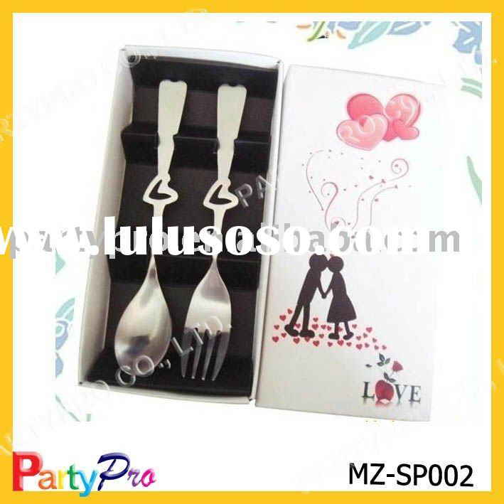 hollow heart-shaped stainless steel spoon & fork