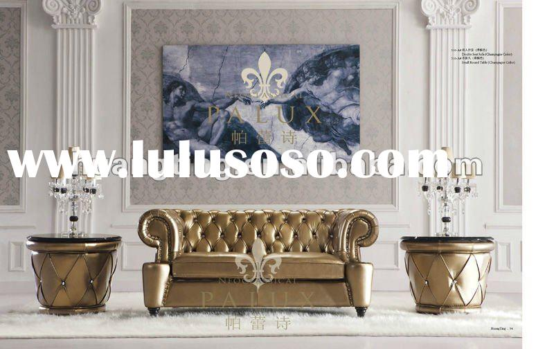 hot and new Italy leather sofa Crystal studs neoclassic sofa high end sofa
