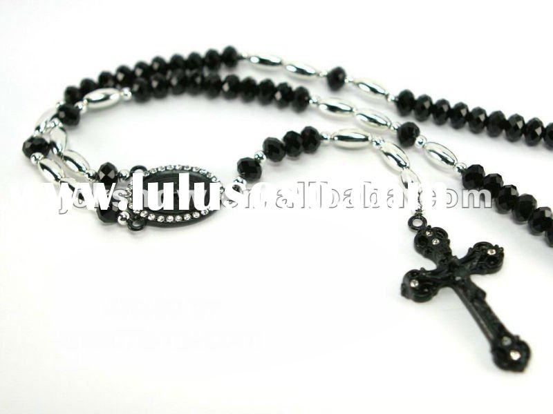 hot, big size hip hop, black and white color beads, cross with Jesus pendant, rosary necklace