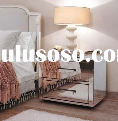 mirror nightstand, mirror sidetable, bedside, drawer with chest brain
