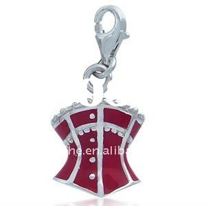 newest alloy silver plated red enamel victorian corset Accesories Charms.alloy necklace pendents 185