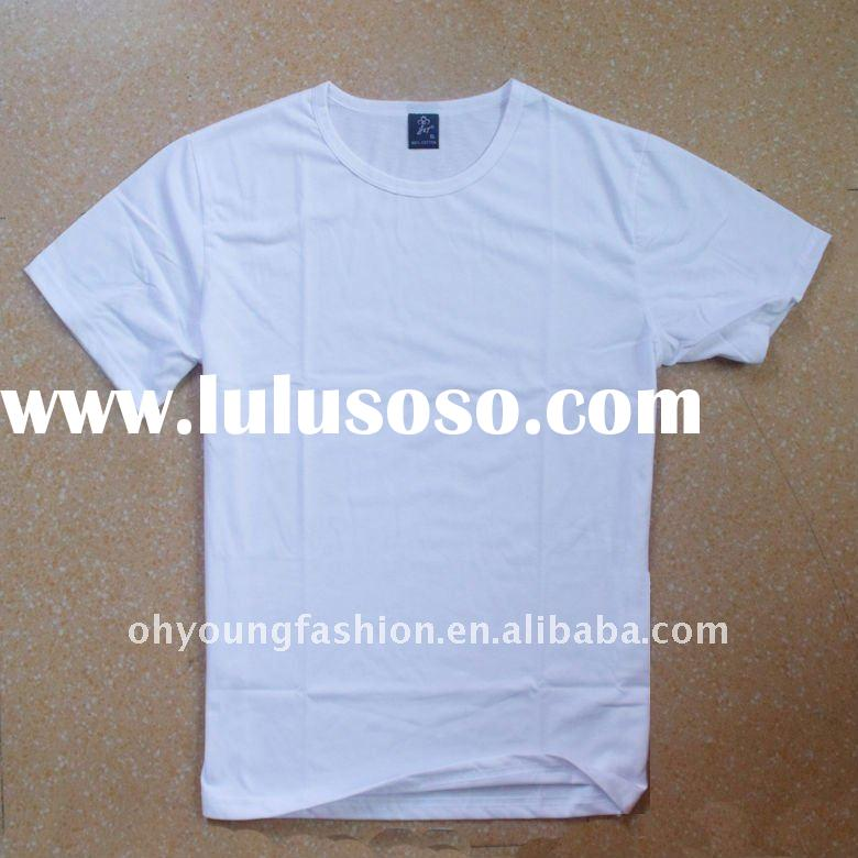 wholesale cheap 100%cotton blank white t shirts plain for men 140gsm short sleeve crew neck