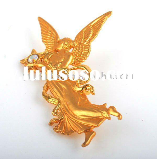 2011Global New Fashion Gold Alloy Dancing Angel with white Diamond Pin Brooches/Necklace Pendant