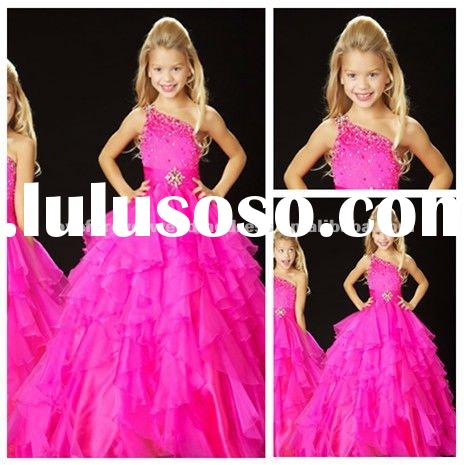 2012 Ball Gown One Shoulder Organza Girls Party Dresses