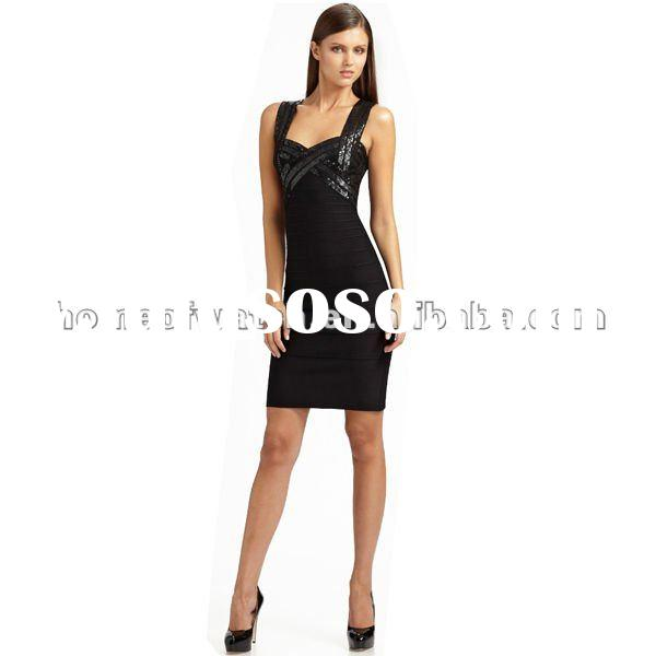 2012 Black Sequins on Bust Lady Party Evening Dress,Fashion Prom Gowns DH149