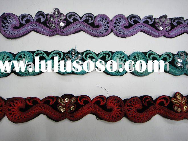 2012 New Design French Fashionable sequins grass embroidered Lace Trim