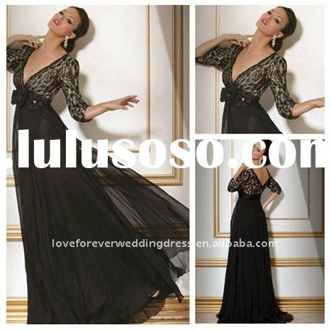 2012 New Style Black Lace Short Sleeve Evening Gown