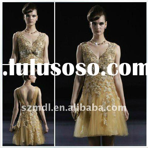 Luxury golden lace and net with bowknot belt A-line beaded short evening&bridesmaid dress