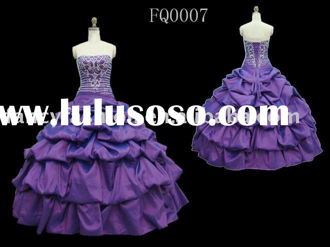NEW! Taffeta Strapless Pick-up Ball Gown with Beaded Detail FQ0007