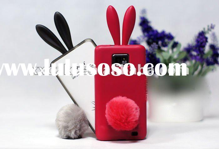 Note! hot sale rabbit ear silicone case for samsung galaxy s2 i9100