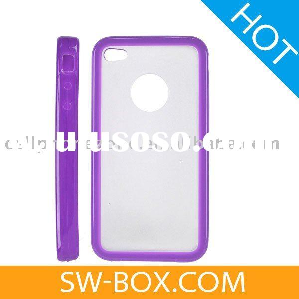 Plastic Hard Case Cover with Soft Side Design for iPhone 4 (Purple) /for iphone4 case