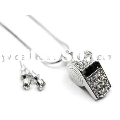 Sporty Ice Crystal Coach Whistle Charm Necklace with Crystal Stud Earrings Set Silver Tone