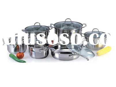 Stainless Steel Cookware Set with Casted Steel Handle, Brushed finish