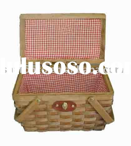 empty basket,wooden basket,picnic hamper,carrying basket, made of wood with carrying handle