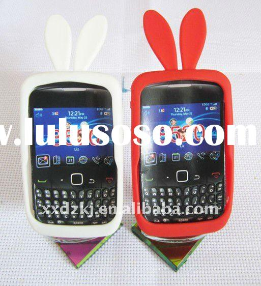 rabbit ear silicone mobile phone case for blackberry 8520
