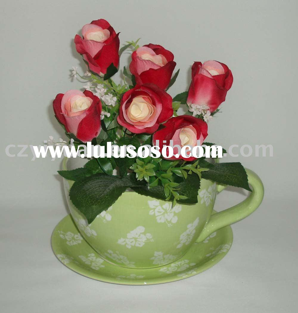 small ceramic indoor decorative tea cup flower pots & planters