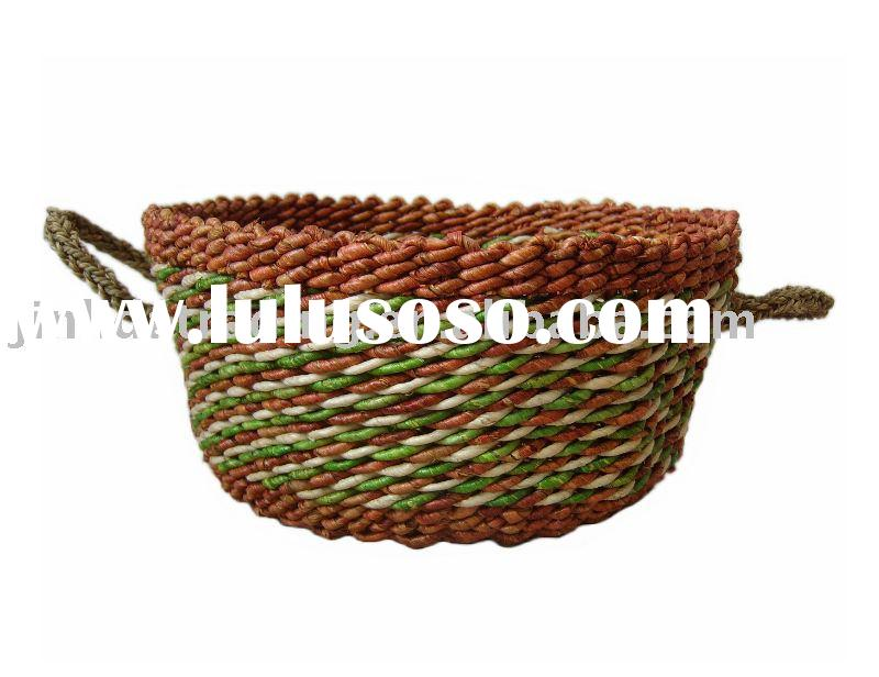 straw storage basket with two handles, corn husk basket