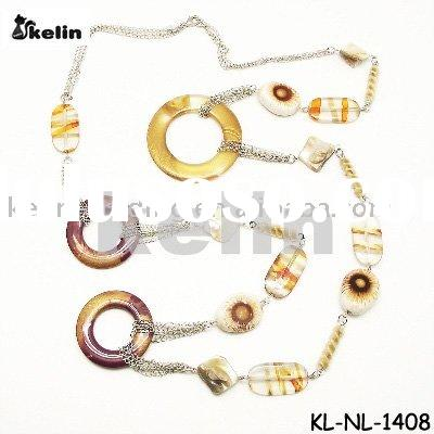 wholesale latest fashion multi chain with acrylic circle necklace