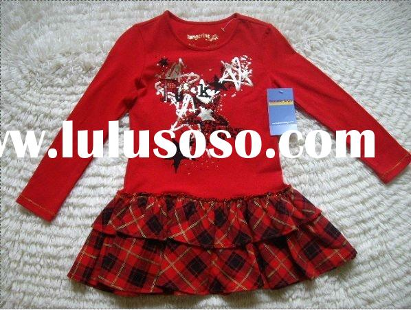 2011Autumn girls new design blouse dress hot sale cute printed dress nice cotton red grid dress