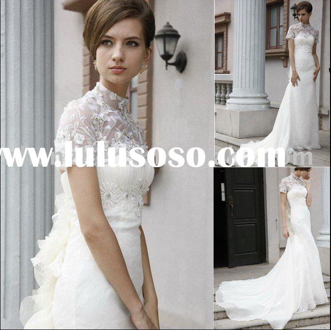 2011 new fashion, customized off shoulder, organza, beaded, ruffle, lace with applique evening dress