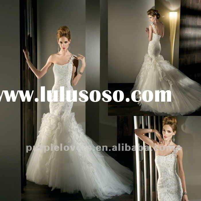 2012 Elegant One shoulder Appliqued Mermaid wedding gown