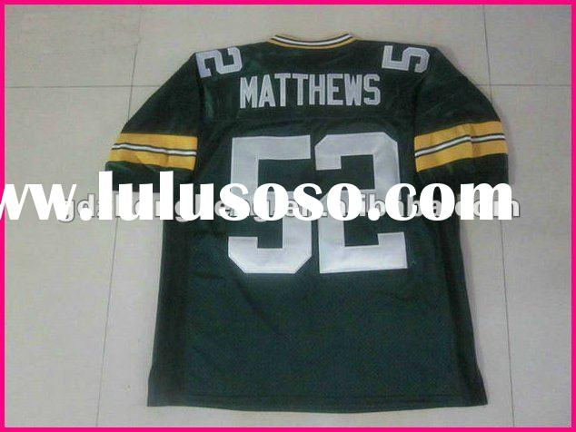 2012 New style jersey Green Bay Packers 52 Clay Matthews Green real jersey name and number are sewn