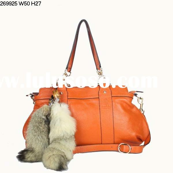 2012 fashion fur tail leather shoes and bags to match