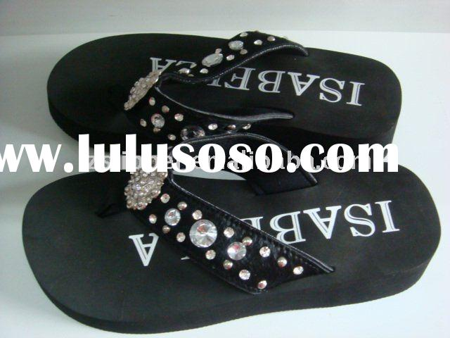 24/42mm fancy ladies beaded strap EVA wedge flip flop slippers