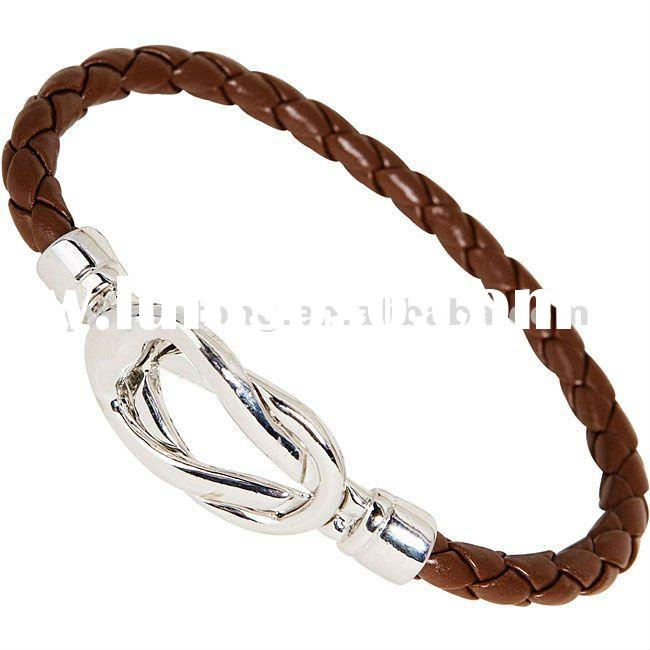 Braided leather metal clasp bracelet chain