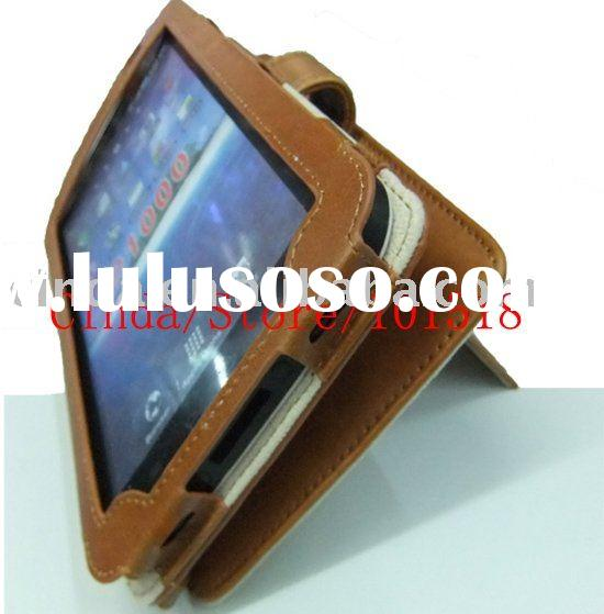 Brown Real Leather Case Cover for Samsung Galaxy Tab P1000 with stand NEW