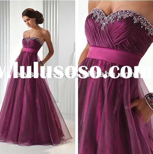 Custom Made A-line Tulle Sweetheart Empire Floor Length Zipper Strapless Tulle Kitty Prom Dresses