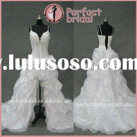 Designer ruffle front short and long back wedding dress RCH0109