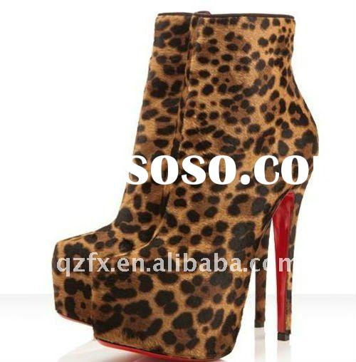 Double platform leopard calf leather women high heel boots