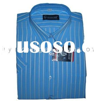 European mens woven short sleeve stripe dress shirts
