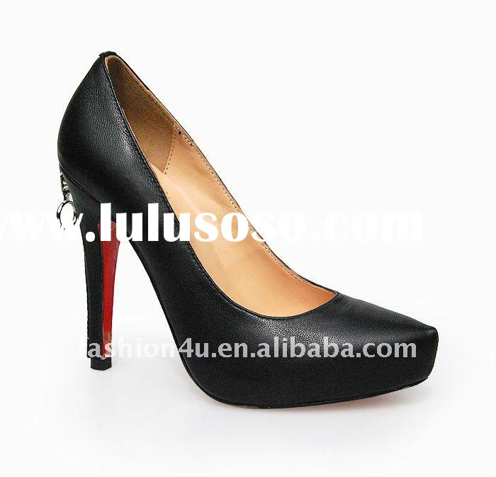 Fashion women's leather dress shoes black